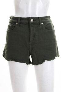 7 For All Mankind Womens High Rise Fray Hem Short Shorts Green Denim Size 27