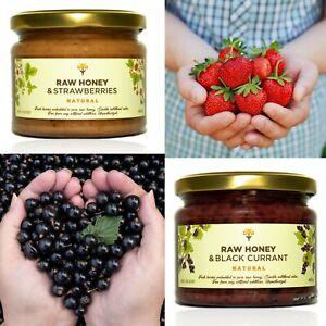 2 jars Honey with BLACK CURRANT & STRAWBERRIES NATURAL HEALTHY jam alternative