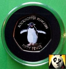 🐧 2017 FALKLAND ISLANDS 50p Fifty Pence Southern Rockhopper Penguin Colour Coin
