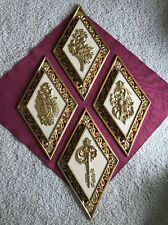 Beautiful Vintage Four Piece Dart Gold Wall Decor Violin, Floral, Lock, Key