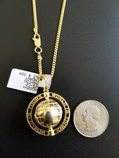 """Sterling silver .925 'World Is Yours' Rotating Globe Pendant cz w/24"""" chain"""