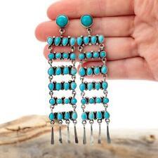 """4.25"""" Zuni Turquoise Earrings SLEEPING BEAUTY Sterling Silver LONG Dangles Old"""
