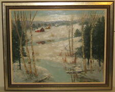 Vintage CHARLES E.D. RODICK 'Red Barn in WINTER Landscape' Oil PAINTING - Listed