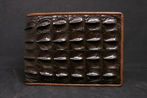 Brown Genuine Crocodile Alligator Horn Back Skin Leather Men's Bifold Wallet