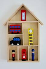 Maison en bois étagère de stockage affichage Décoratif Enfants Chambre découpage