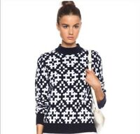Equipment Sweater L Tayden Printed Blue White Wool Cashmere Pullover Women's