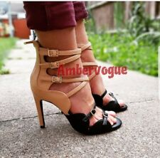 Zara Nude Beige black strappy high heels buckles size Uk 5 Euro 38