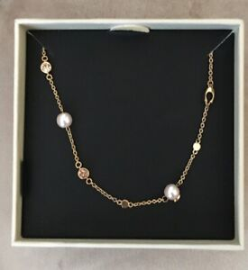 """COACH PINK PEARL SIGNATURE """"C"""" 16""""+ 2"""" 18"""" adjustable NECKLACE, GOLD"""