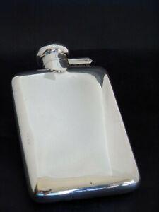 Rare Antique Sterling Solid Silver Hip Flask 1914 A J Zimmerman Ltd NO RESERVE
