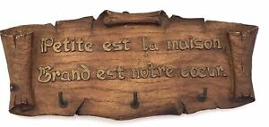 """Vtg French Key Holder Faux Wood Translates """"Small Is The House Big Is Heart"""" Sic"""