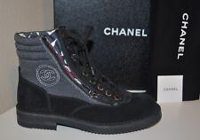NIB $1425+ CHANEL 15C BLack Grey Canvas CC Lace Up Short Combat Zip Boots 37 - 7