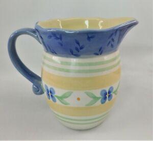 Cottage Core Pfaltzgraff Cream Pitcher Summer Breeze 16 oz Yellow Blue Flowers