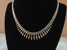 """14K Yellow Gold 17"""" Panther Link Chain Choker Necklace ITALY - Stunning"""