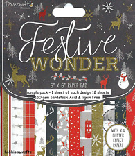 DOVECRAFT FESTIVE WONDER CHRISTMAS PAPERS - 6 X 6 SAMPLE PACK  POSTAGE DISCOUNTS
