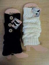 NEW Lot of 2 Ladies Winter Legwarmers Boot Cuffs Black White One Size Cute!