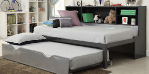 Twin Black And Silver Bed W/ Bookcase