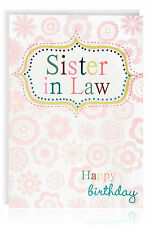 SISTER IN LAW BIRTHDAY greetings card - Beautiful Blue Foil & Flowers - ATB5048