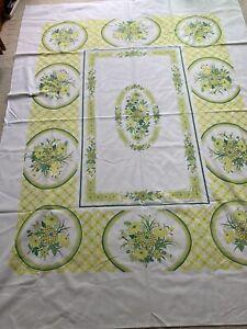 "Vintage Floral Print Tablecloth 79x58"" Yellow Dark & Lime Green Fallani & Cohn"