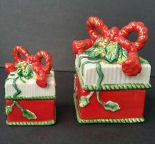 Fitz & Floyd Set of 2 Lidded Christmas Boxes - Remembering Santa Gift Trinket