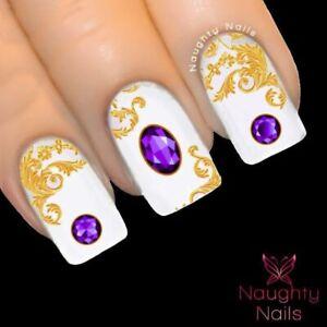 AMETHYST GEMSTONE Purple Nail Water Transfer Decal Sticker Art Tattoo