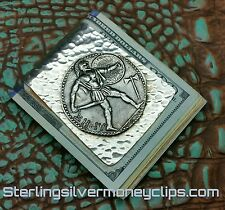 87 Gram Thick GREEK GOD OF WAR 935 925 Argentium Sterling Silver Money Clip USA