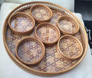Vintage 7 Piece Glazed Bamboo & Wicker Tray & Coaster Set - Geometric Design