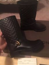 Louis Vuitton LV Rebellion Women's Boots 36.5 6.5 6 Black Leather Embossed Auth