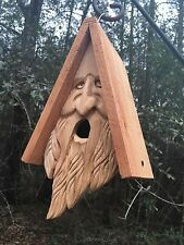 Wood Spirit Old Man Face rustic Hand Carved Cedar Bird House Birdhouse