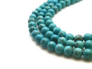lot de 35 Perles turquoise naturelles 6 mm