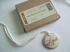 "Longaberger~ Horizon Of Hope Ceramic Disc ""HOPE"" Tie-on w/ Ribbon NIB"