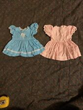 Vintage Pink Blue Pair Matching Doll Clothes,12 14 inch Baby Doll Clothes Dress