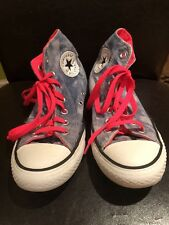Converse All Stars High Tops Size 5-1/2 Uk purple tie-dye and pink trim