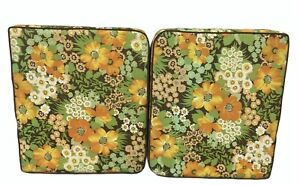 Vintage 70s Thick Lawn Patio Chair Seat Cushion Pads Outdoor Orange Floral