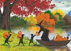 ACEO PRINT OF PAINTING RYTA WITCH BLACK CAT AUTUMN HALLOWEEN LANDSCAPE PUMPKINS