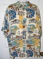 Pierre Cardin Men's Hawaiian Blue White Shirt Size XL Coral Coast 100% Rayon