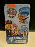 New Nickelodeon Paw Patrol 28 Piece Dominoes Domino Game Set in Tin Metal Box