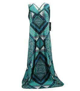 R&K Originals Womens Shift Dress Jade Green Floral Stretch Maxi Petites 8P New