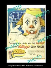 OLD LARGE HISTORIC AUST KELLOGS CORN FLAKES ADVERTISEMENT PHOTO, 1960 CLOWN