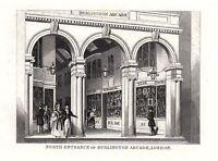 1840 Victoriano Estampado ~ North Entrance Of Burlington Arcade ~ Londres