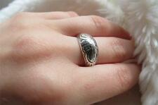 Vintage 925 Silver Chased Foliate Gypsy Boule Ring Size O