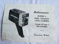 Instructions cine film movie camera HALINAMATIC super 8 CD/Email