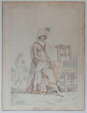 """Belle Aquarelle Ancienne Femme """"Chaise Vacante"""" c.1800 PHILIBERT-LOUIS DEBUCOURT"""