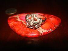 Amazing Unique Vintage Solid White Gold Diamonds Ruby Emer. Sapph. Ring.10K Sz-9