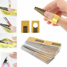 100 Gold Acrylic Gel Nail Art Forms Tip Sculpting Guide Stickers UK SELLER