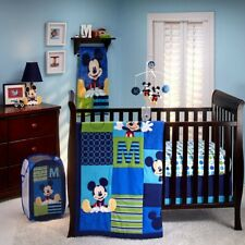 New So Cute 9 Pieces Disney Mickey Mouse M Is For Mickey Crib Bedding Set.