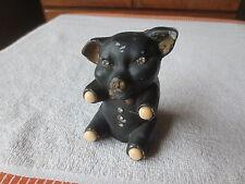 Odd Aluminum Cast Piggy Bank -  Black, Garnets Marble Glass Feet