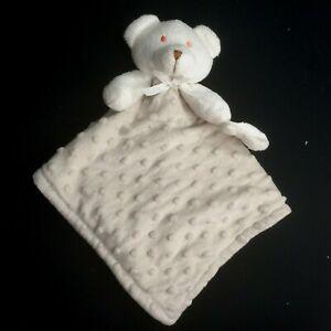 Blankets & Beyond Grey Tan Minky Dot Teddy Bear Lovey Security Blanket Paci