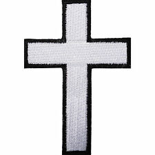 White Cross Embroidered Iron / Sew On Patch T Shirt Bag Motorcycle Jacket Badge