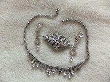 Vintage Costume Jewelry Necklace, Brooch & Earrings
