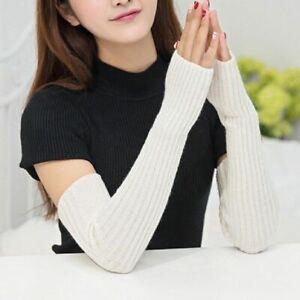 Women Arm Warmers Long Knitted Woolen Arms Sleeve Girls Wrist Fingerless Gloves